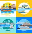 water transport 2x2 flat design concept set vector image