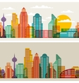 Cityscape seamless horizontal banners with vector image vector image