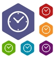 Clock rhombus icons vector image