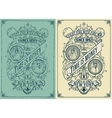 Baroque cards with floral details Cracked and vector image