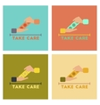 assembly flat icons hand condoms vector image