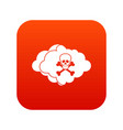 cloud with skull and bones icon digital red vector image