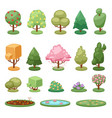 different game green tree bush and ground isolated vector image