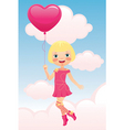 girl flying a balloon vector image