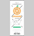 orange juice label in trendy linear style vector image