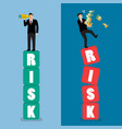 two businessman standing on risk blocks vector image