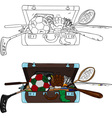 suitcase full of things vector image vector image
