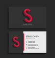clean dark business card with letter S vector image