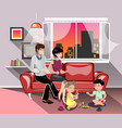 parents with children in living room vector image