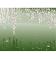 Blooming willow above pond surface vector image