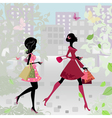 fashion shopping city girls vector image vector image