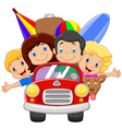 Cartoon vacation with family vector image