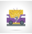 Flat color icon for car crash vector image