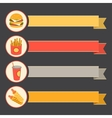 flat icon set fast food with vintage ribbons vector image