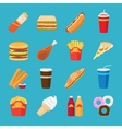 Fastfood and drink flat icons vector image