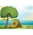 a tree and a tent vector image vector image