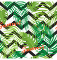 seamless background with tropical leaves vector image