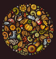 autumn cartoon doodle objects symbols and items vector image