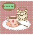 Vintage tea mug saucerspoon and alarm clock on vector image