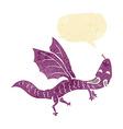 cartoon little dragon with speech bubble vector image
