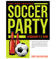 Soccer Party Invitation Flyer Template vector image