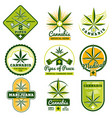 marijuana hashish drug medicine logos and vector image