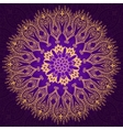 Round vintage violet and gold pattern vector image
