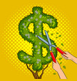 bush in the form of dollar sign pop art vector image vector image
