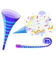 Party horn and pop up cone vector image
