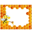 Bee cartoon with honeycomb vector image
