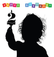 child birthday silhouette vector image