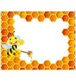 Bee cartoon with honeycomb vector image