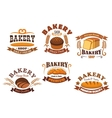 Bakery shop badge with bread and baguette vector image