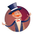 circus show host boy man in suit with cylinder hat vector image vector image