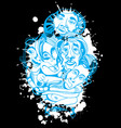hand drawn asians buddhists people cartoon ink vector image