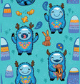 cute forest monsters seamless pattern in blue vector image