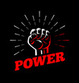 power clenched raised fist hand gesture vector image