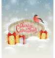 Bullfinch and gifts in snow vector image vector image