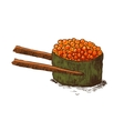 roll with caviar and chopsticks vector image