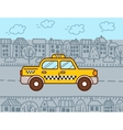 Taxi cab in the city vector image vector image