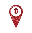Bitcoin pointer red grunge icon vector image