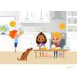 children doing daily routine activities in kitchen vector image