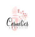delicate logo design with abstract pink cosmetic vector image