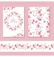 Floral spring templates with cute bunches of pink vector image