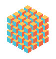 geometric cube of smaller isometric cubes vector image