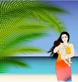 Mother and baby tropical vector image