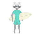 raccoon surfer with surfboard vector image