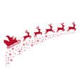 santa sleigh reindeer flying on background vector image