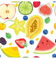 Seamless pattern of fruit and berries vector image