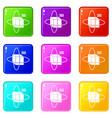 virtual cube icons 9 set vector image